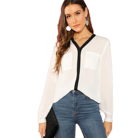 White V Neck Long Sleeve Contrast Trim Pocket Front Top