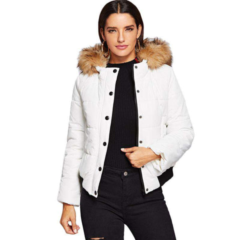 White Puffer Padded Coat With Faux Fur Trim Hooded