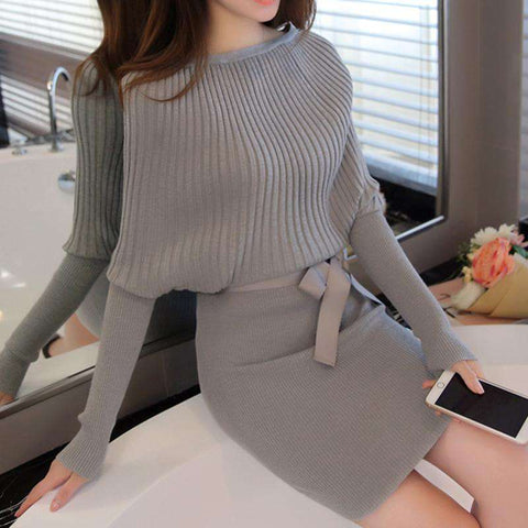 Single Breasted Knitted O-Neck Batwing Sleeve Dress
