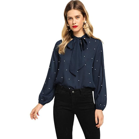 Navy Tie Neck Elegant Stand Collar Bishop Long Sleeve Beaded Pearls Top Pullovers Blouse