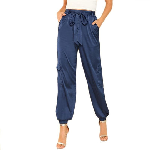 Blue Flap Pocket Side Belted Satin Lantern Elastic Waist Carrot Pants