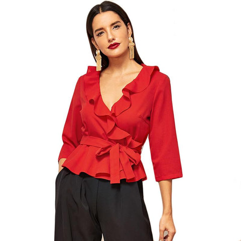 Red Belted Ruffle Trim Wrap 3/4 Sleeve Deep V Neck Blouse Top