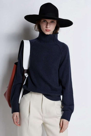 Long Sleeve Loose Turtleneck Collar Knitted Sweater Top