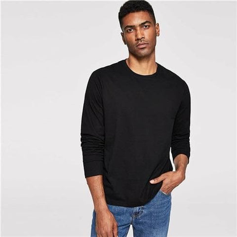 Black Solid Minimalist Round Neck Long Sleeve Tunic Tshirt