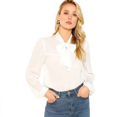 White Tie Neck Bishop Sleeve Stand Collar Solid Knot Top