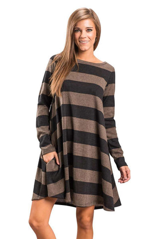 Long Sleeve Loose Checkered Striped Swing Dress with Pocket