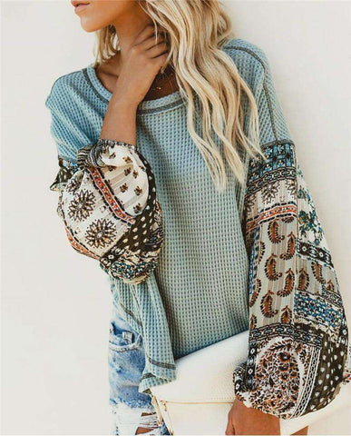 Knitted Boho Printed Long Bell Sleeve O-Neck Pullovers Jumper