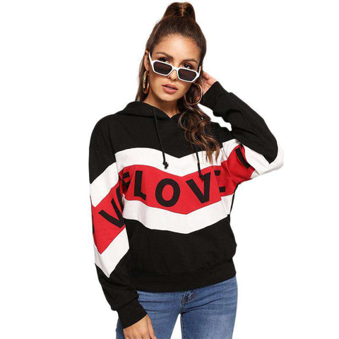 Long Sleeve Drawstring Letter Print Striped Hooded Sweatshirt Pullover