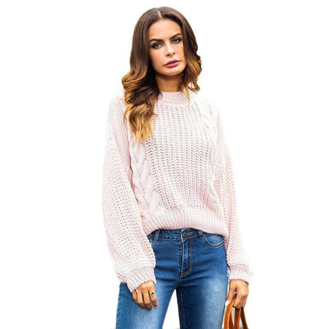 Pink Cut Out Back Cable Knit Crop Long Sleeve Sweaters Pullovers