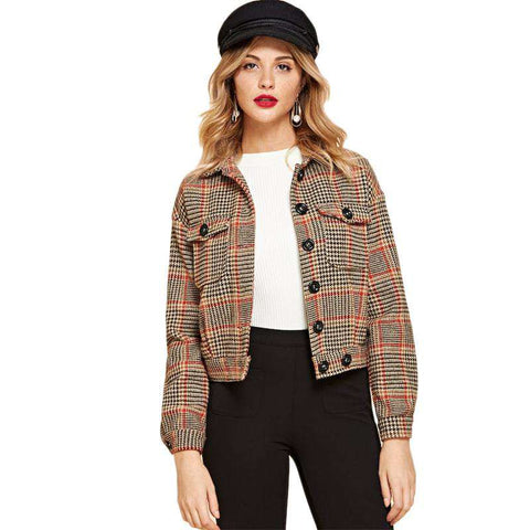 Button Flap Pocket Front Houndstooth Jacket