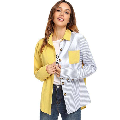 Pocket Decoration Long Sleeve Striped Placket Top Shirt