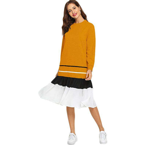 Striped Ruffle Hem Long Sleeve Sweatshirt Dress