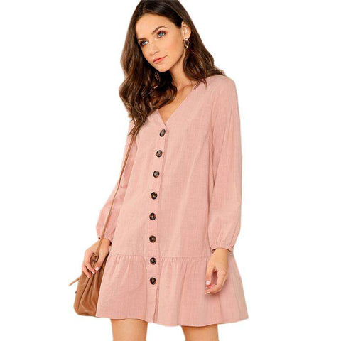 Pink Button Front V-Neck Ruffle Hem Long Sleeve Drop Waist Dress