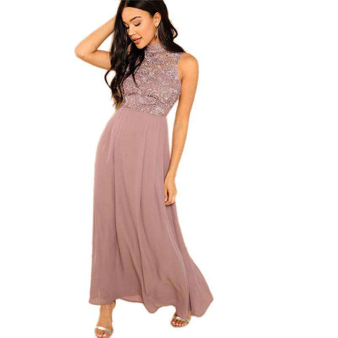 Pink Guipure Lace Overlay Stand Collar Sleeveless A Line Dress