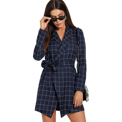 Navy Plaid Self Tie Wrap Shawl Collar Grid Long Trench Coat