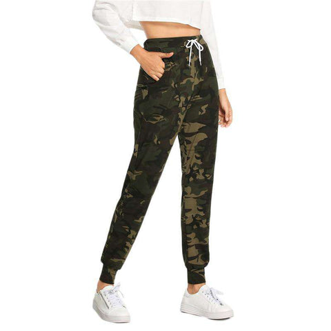 Pocket Drawstring Waist Camouflage Pants