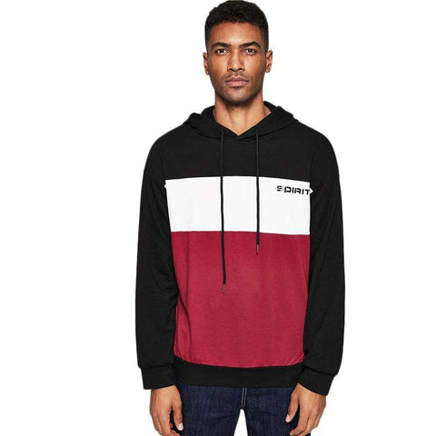 Letter Drawstring Colour Block Hoodie Long Sleeve Pullovers Sweatshirt