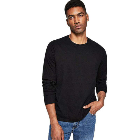 Black Long Sleeve Round Neck Pullovers Tee