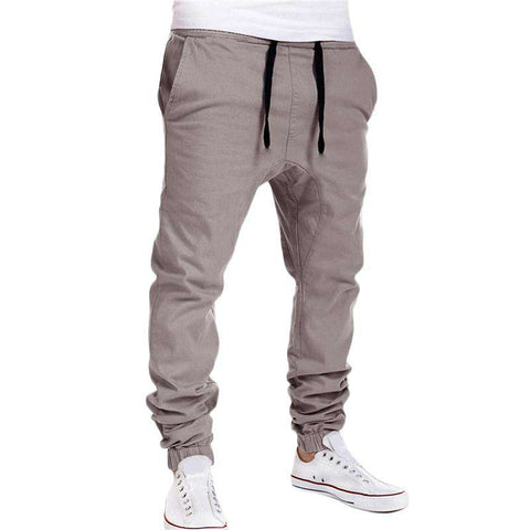 Grey Button Pocket Solid Drawstring Sweatpants