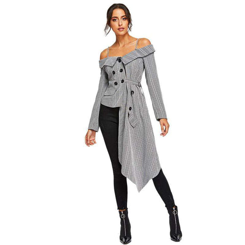 Grey Cold Shoulder Asymmetric Hem Plaid Long Sleeve Coat Blazer