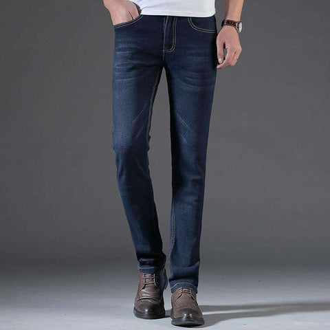 Denim Blue Straight Full Length Cotton Blended Zipper Fly Jeans