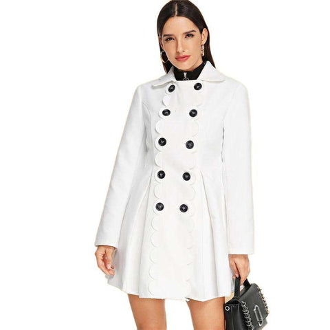 White Double Breasted Scallop Detail Flared Pleated Slim Fit Coats