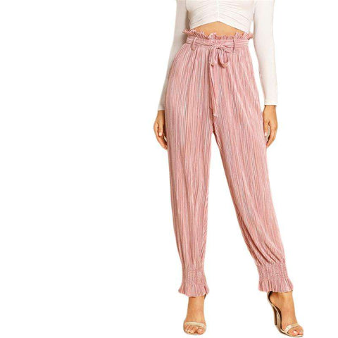 Pink Belted Tie Waist Frill Trim Knot Pleated Pants