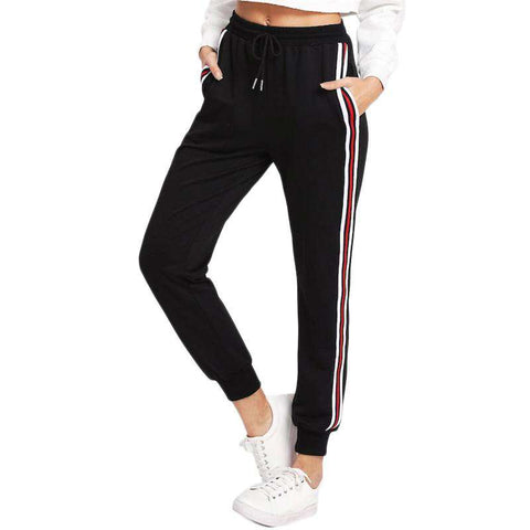 Black Pocket Striped Tape Side Drawstring Sweatpants