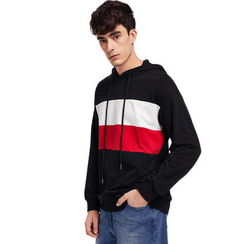 Colour Block Drawstring Hoodie Long Sleeve Pullovers Sweatshirt