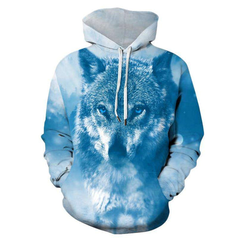Blue Animal 3D Wolf Print Hooded Long Sleeve Drawstring Pullovers Sweatshirt