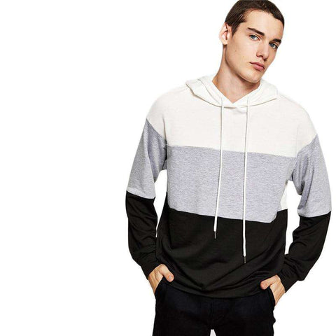 Multicolour Hooded Cut And Sew Drawstring Pullover Sweatshirt