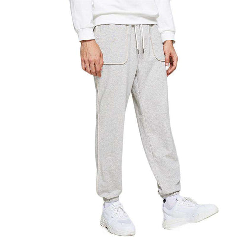 Grey Elastic Drawstring Waist Hem Long Track Pants Sweatpants