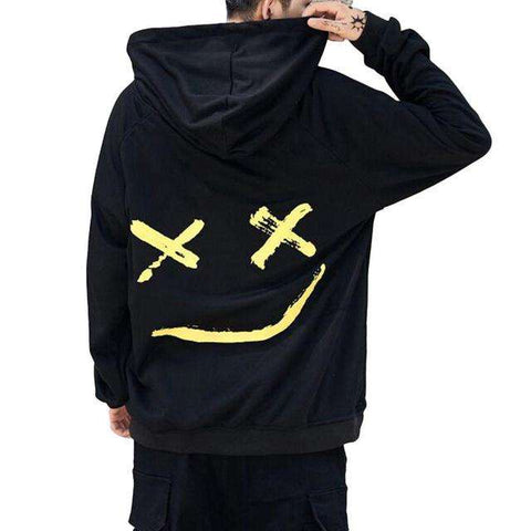 Smile Printed Hooded Loose Sweatshirt Pullover