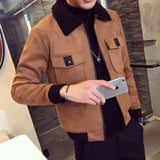 Suede Thick Warm Slim Fit Fur Collar Jacket