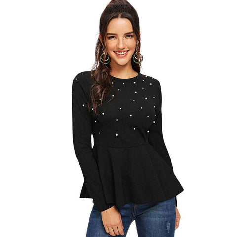 Pearls Beaded Solid Peplum Long Sleeve Black Top