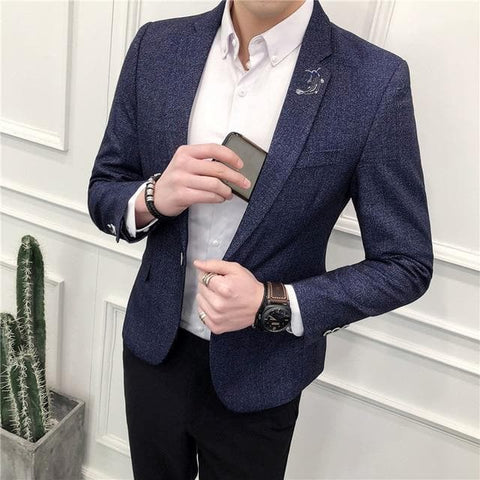 Single Breasted Small Embroidery Slim Fit Blazer