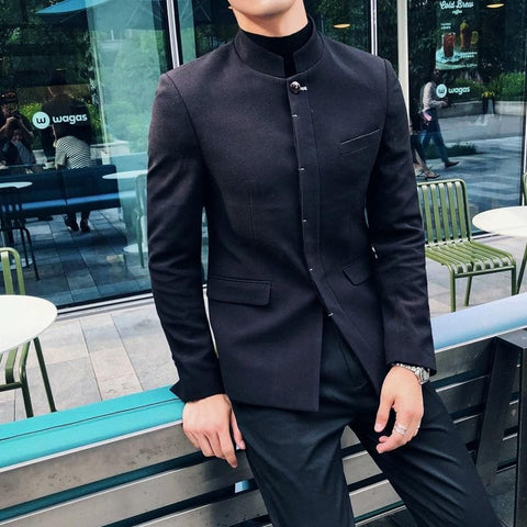 Chinese collar Slim Fit Black Blazer