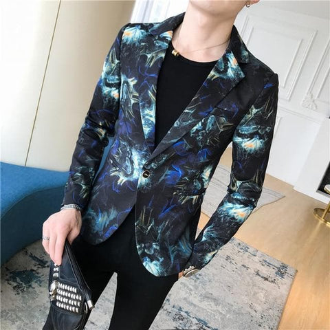 Fire Print Slim Fit One Button Blazer