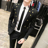 Single Breasted Bee Embroidery Slim Fit Suit
