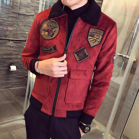 Thick Suede Fur Collar Slim Fit  Bomber Jacket