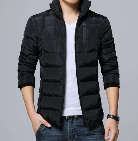 Padded thick Parkas black Slim Fit Jacket