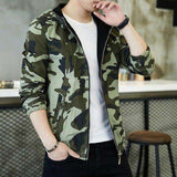 Camouflage Hooded Slim Fit Windbreaker Jacket
