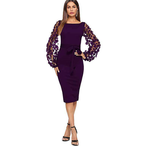 Purple Solid Flower Applique Mesh Sleeve Form Fitting Skinny Pencil Dress