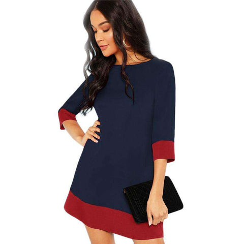 Navy Contrast Trim Tunic Round Neck 3/4 Sleeve Dress