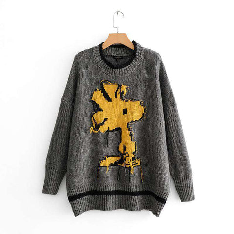 O-neck long sleeve Snoopy Cartoon Knitwear Thick Long Pullovers Sweater