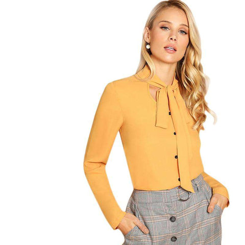 Mustard Single Breasted Tie Neck Long Sleeve Shirt Top
