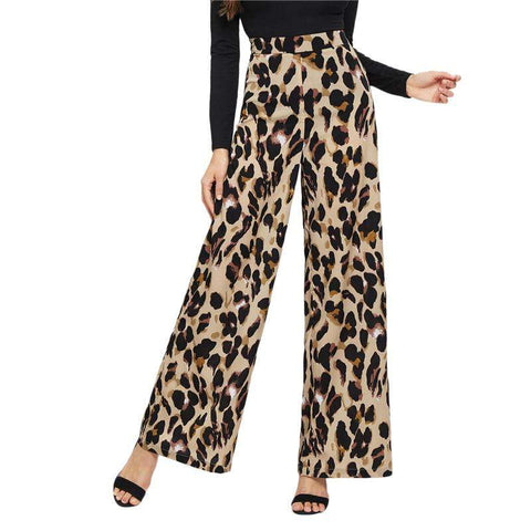 Leopard Print Wide Leg Mid Waist Loose Pants Trousers