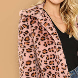 Leopard Print Faux Fur Long Sleeve Collar Jacket Coat