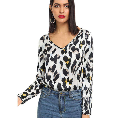 V Neck Leopard Print Long Sleeve Top