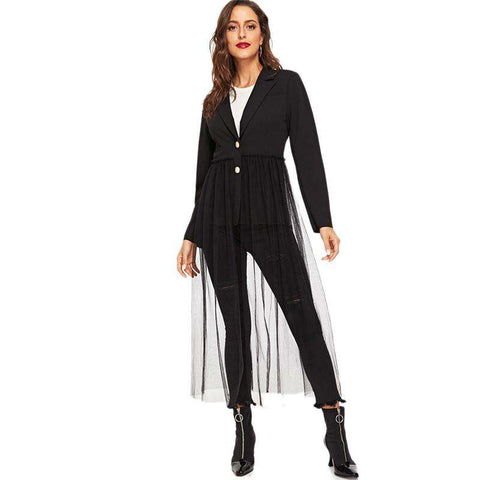 Black Notched Collar Mesh Hem Single Breasted Long Blazer